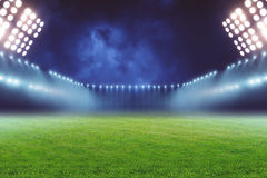 Football ground. View of emty illuminated football ground at night Royalty Free Stock Photography