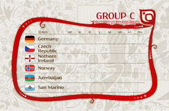 Football group C table of results, vector template Royalty Free Stock Image