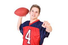 Football: Guy Ready To Pass Football Royalty Free Stock Photography