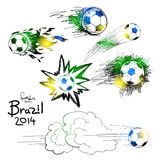 Football hand draw. Vector soccer ball icon set with color of brazilian flag Royalty Free Stock Photography