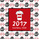 Football 2017. Football hand drawn pattern. With Austria country flag and t-shirt. 2017 Football Year Royalty Free Stock Photography