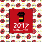 Football 2017. Football hand drawn pattern. With Belgium country flag and t-shirt. 2017 Football Year Royalty Free Stock Image