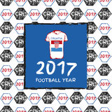 Football 2017. Football hand drawn pattern. With Croatia country flag and t-shirt. 2017 Football Year Royalty Free Stock Photos