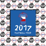 Football 2017. Football hand drawn pattern. With Czechia country flag and t-shirt. 2017 Football Year Royalty Free Stock Photography