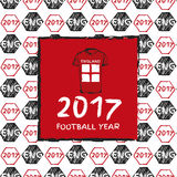 Football 2017. Football hand drawn pattern. With England country flag and t-shirt. 2017 Football Year Stock Images