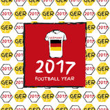 Football 2017. Football hand drawn pattern. With Germany country flag and t-shirt. 2017 Football Year Royalty Free Stock Photography