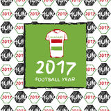 Football 2017. Football hand drawn pattern. With Hungary country flag and t-shirt. 2017 Football Year Royalty Free Stock Photos