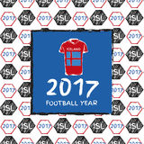 Football 2017. Football hand drawn pattern. With Iceland country flag and t-shirt. 2017 Football Year Royalty Free Stock Photo