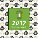 Football 2017. Football hand drawn pattern. With Ireland country flag and t-shirt. 2017 Football Year Stock Photography