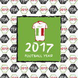 Football 2017. Football hand drawn pattern. With Italy country flag and t-shirt. 2017 Football Year Stock Photo
