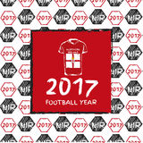 Football 2017. Football hand drawn pattern. With Northen Ireland country flag and t-shirt. 2017 Football Year Stock Photos