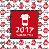 Football 2017. Football hand drawn pattern. With Polandcountry flag and t-shirt. 2017 Football Year Stock Images