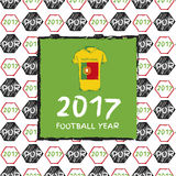 Football 2017. Football hand drawn pattern. With Portugal country flag and t-shirt. 2017 Football Year Royalty Free Stock Photos