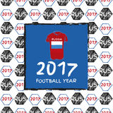 Football 2017. Football hand drawn pattern. With Russia country flag and t-shirt. 2017 Football Year Royalty Free Stock Images
