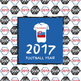 Football 2017. Football hand drawn pattern. With Slovakia country flag and t-shirt. 2017 Football Year Royalty Free Stock Photos