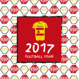 Football 2017. Football hand drawn pattern. With Spain country flag and t-shirt. 2017 Football Year Royalty Free Stock Photography