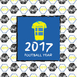 Football 2017. Football hand drawn pattern. With Sweeden country flag and t-shirt. 2017 Football Year Stock Photos