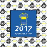 Football 2017. Football hand drawn pattern. With Ukraine country flag and t-shirt. 2017 Football Year Stock Photography