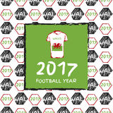 Football 2017. Football hand drawn pattern. With Wales country flag and t-shirt. 2017 Football Year Royalty Free Stock Photos