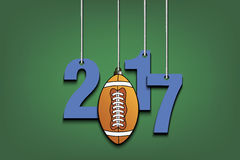 Football and 2017 hanging on strings. New Year numbers 2017 and football as a Christmas decorations hanging on strings. Vector illustration stock illustration