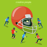 Football helm protection hat flat 3d isometric vector Stock Image