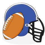 Football and helmet. Cartoon illustration showing an American football and a helmet Stock Photography