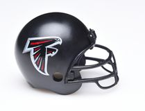 Football Helmet for the Atlanta Falcons. IRVINE, CALIFORNIA - AUGUST 30, 2018: Mini Collectable Football Helmet for the Atlanta Falcons of the National Football royalty free stock images