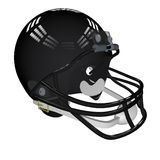 Football helmet. Black helmet for american football, isolated over white, 3d render Royalty Free Stock Images
