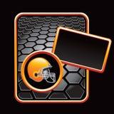 Football helmet on black hexagon advertisement Royalty Free Stock Photo
