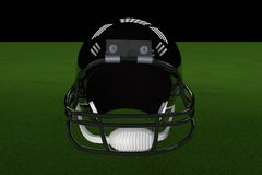 Football Helmet. Black football helmet in the middle of field, with stadium lights, 3d render Royalty Free Stock Images