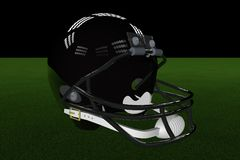 Football Helmet. Black football helmet in the middle of field, with stadium lights, 3d render Stock Photography