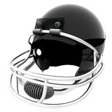 Football helmet. Black football helmet  over white, 3d render, square image Stock Photography