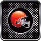 Football helmet on black web icon Stock Images
