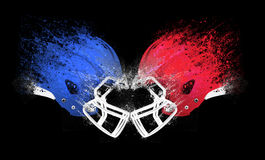 Football Helmet Collision. Football helmets colliding together on a black background Stock Illustration