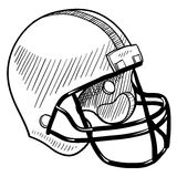 Football helmet drawing. Doodle style football helmet sports equipment in vector format Stock Photography