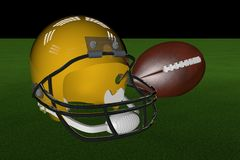 Football and helmet. Golden helmet and football over grass, 3d render Royalty Free Stock Photos