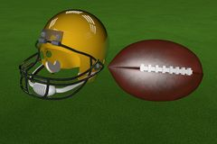 Football and helmet. Golden helmet and football over grass, 3d render Royalty Free Stock Photography