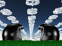 Football Helmet on Grass with Dollar Clouds Royalty Free Stock Images