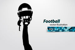 football helmet and hand silhouette. Rugby. Stock Photography