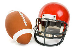 Football and Helmet Isolated Stock Photography