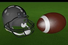 Football and helmet. Over green grass, 3d render Royalty Free Stock Photography