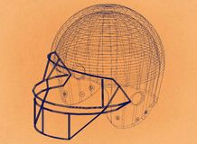 Football helmet - Retro Architect Blueprint
