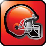 Football helmet web button. Orange web button with picture of an orange football helmet Stock Photos