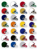 Football Helmets. Many Multi-colored football helmets representing many teams and diverse colors, helmets are pathed Stock Photography