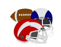 Football and Helmets Stock Photo