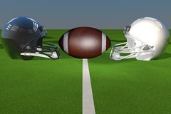 Football helmets fronting each other. Black and white football helmets over green field, 3d render Royalty Free Stock Image