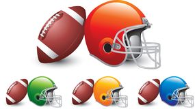Football and helmets in multiple colors. Footballs and orange, green, yellow, and blue football helmets on white backdrop Stock Photo