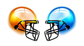 Football Helmets on white. Football Helmets with reflection on white background Royalty Free Stock Photography