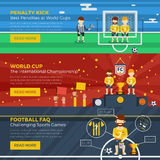 Football Horizontal Banner Set. With different stages and elements of the game vector illustration Stock Image