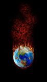 Football - Hottest topic on Earth?. Burning football globe with fire, fume and flames royalty free illustration